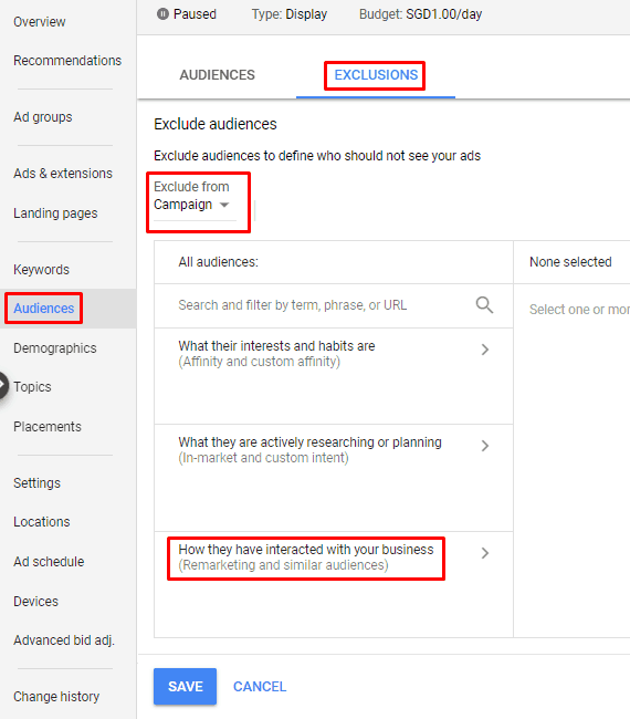 Google AdWords New Interface - Exclude Audiences Exclusions Campaign Remarketing Similar Audiences