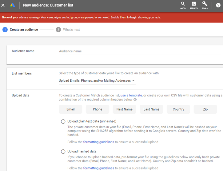 Google AdWords New Interface - New Customer List Audience