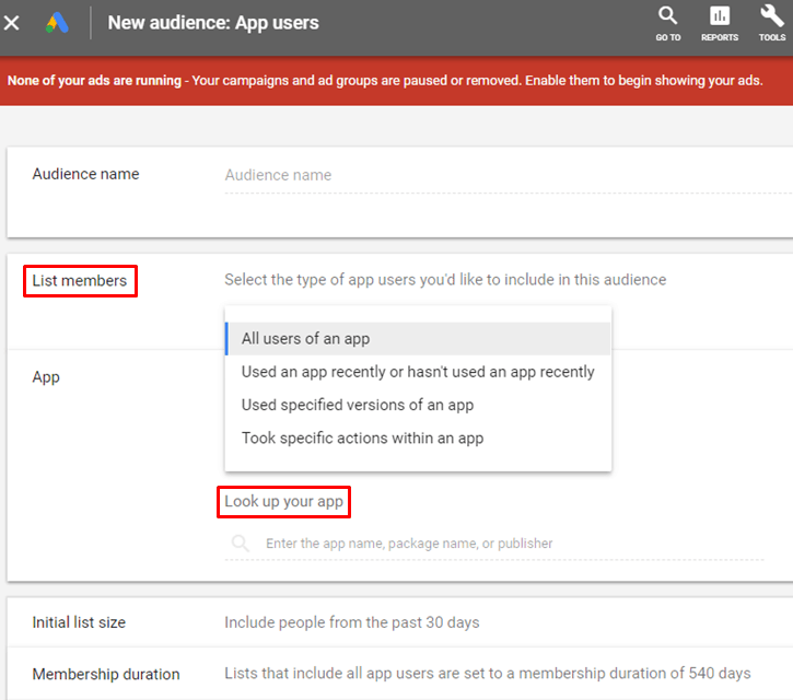 Google AdWords New Interface - New Mobile App Users Audience - List Members App