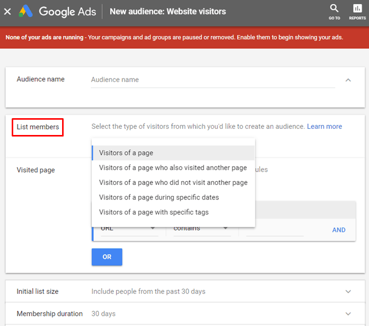 Google AdWords New Interface - New Website Visitors Audience - List Members