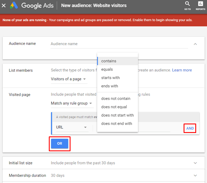 Google AdWords New Interface - New Website Visitors Audience - Visited Page And Or
