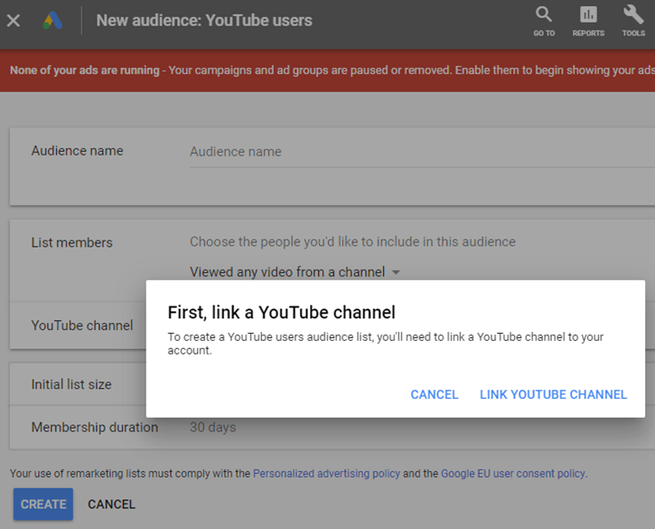 Google AdWords New Interface - New YouTube Users Audience - Link YouTube Channel
