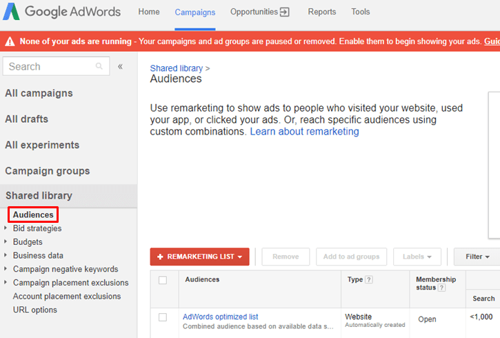 Google AdWords Old Interface - Audiences