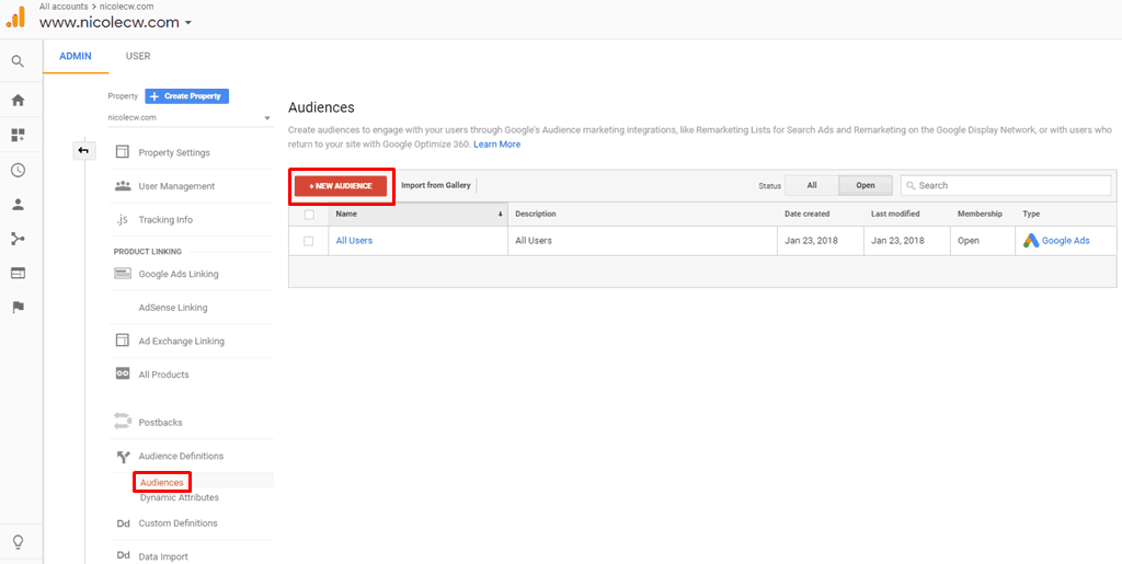 Google Analytics - All Users Create New Audience