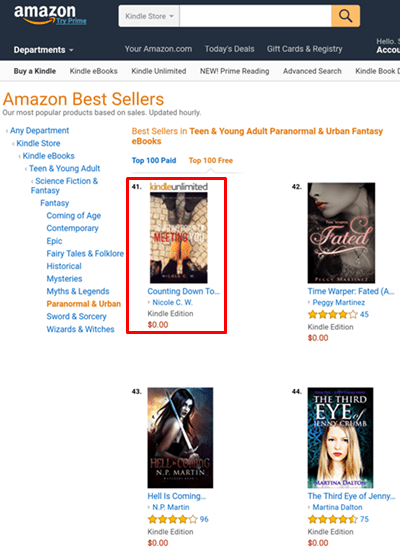 Amazon Best Sellers - Free Book Ranking Feb2017 - Countdowner1 Paranormal 41st