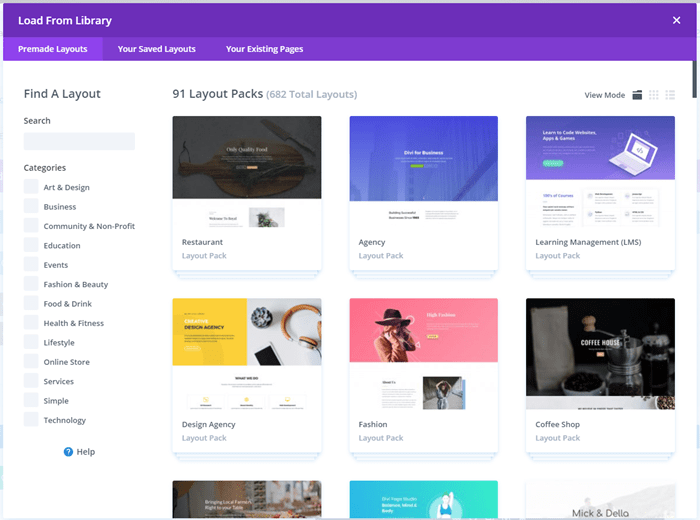 Elegant Themes Divi - Library Premade Layout Packs