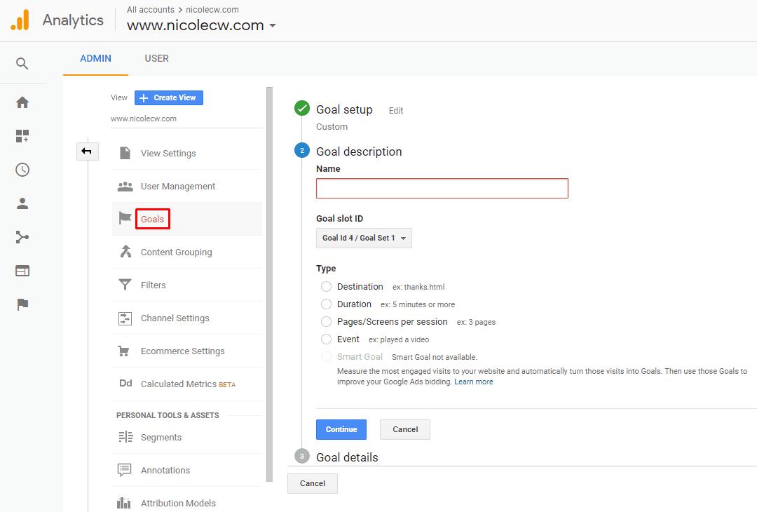 Google Analytics - Create New Goal Description