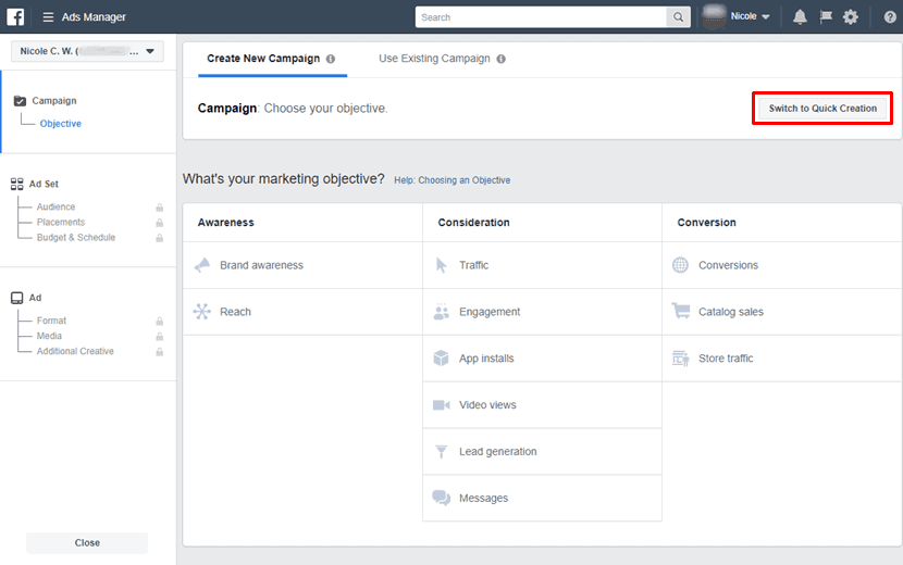Facebook - Ads Manager - Create New Campaign - Guided Creation