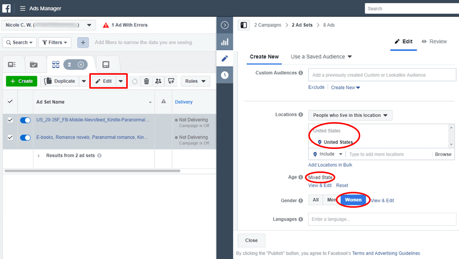 Facebook - Ads Manager - Edit Mixed