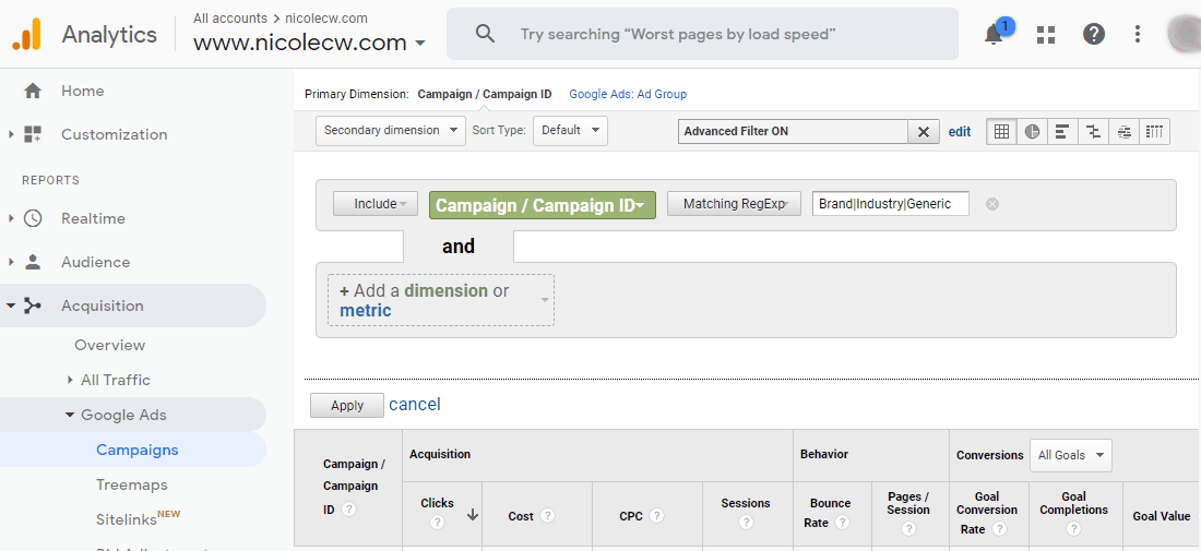 Google Analytics - Acquisition Google Ads Campaigns Advanced Filter