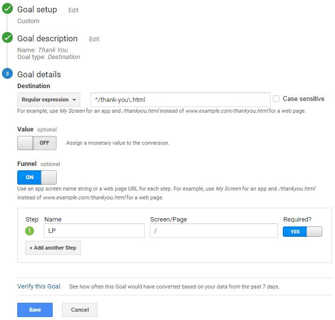 Google Analytics - Destination Goal - Regular Expression