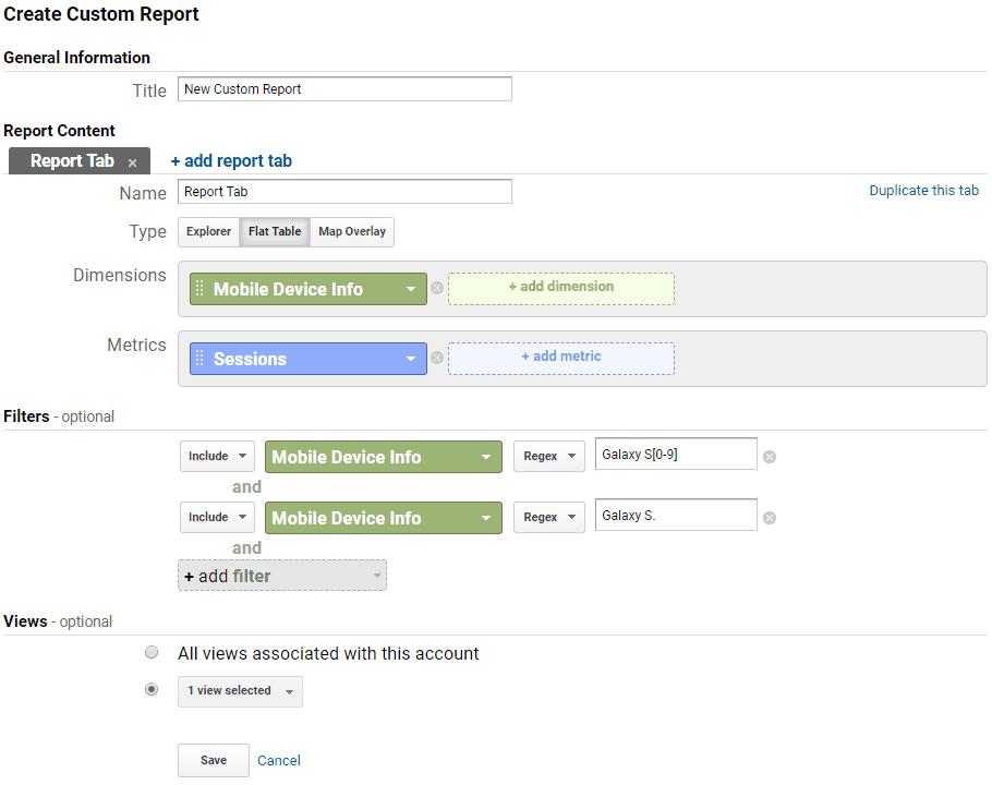 Google Analytics - New Custom Report