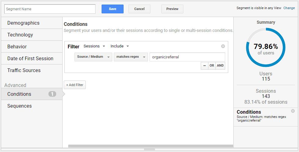 Google Analytics - New Segment Advanced Conditions