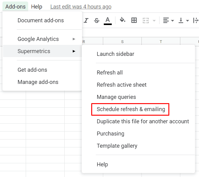 Supermetrics - Google Sheets Add-Ons Schedule Refresh
