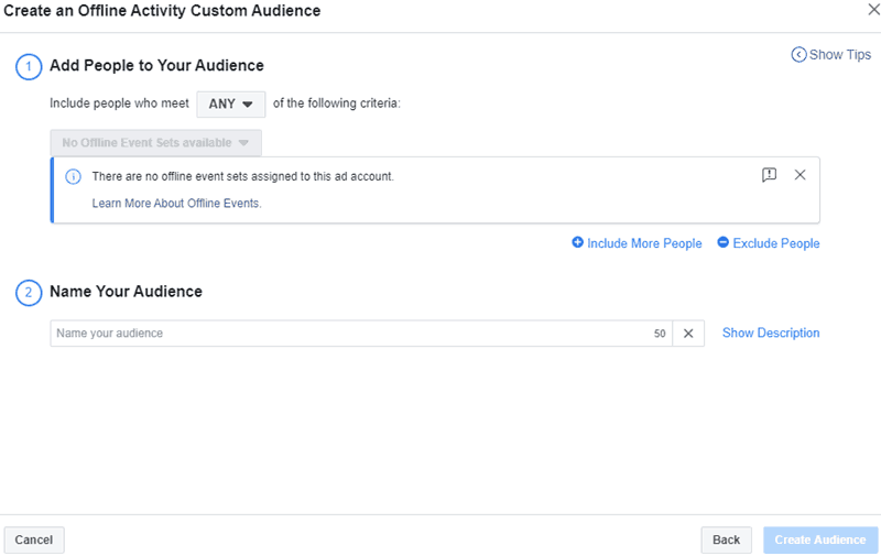 Facebook - Ads Manager - Create Custom Audience Offline Activity