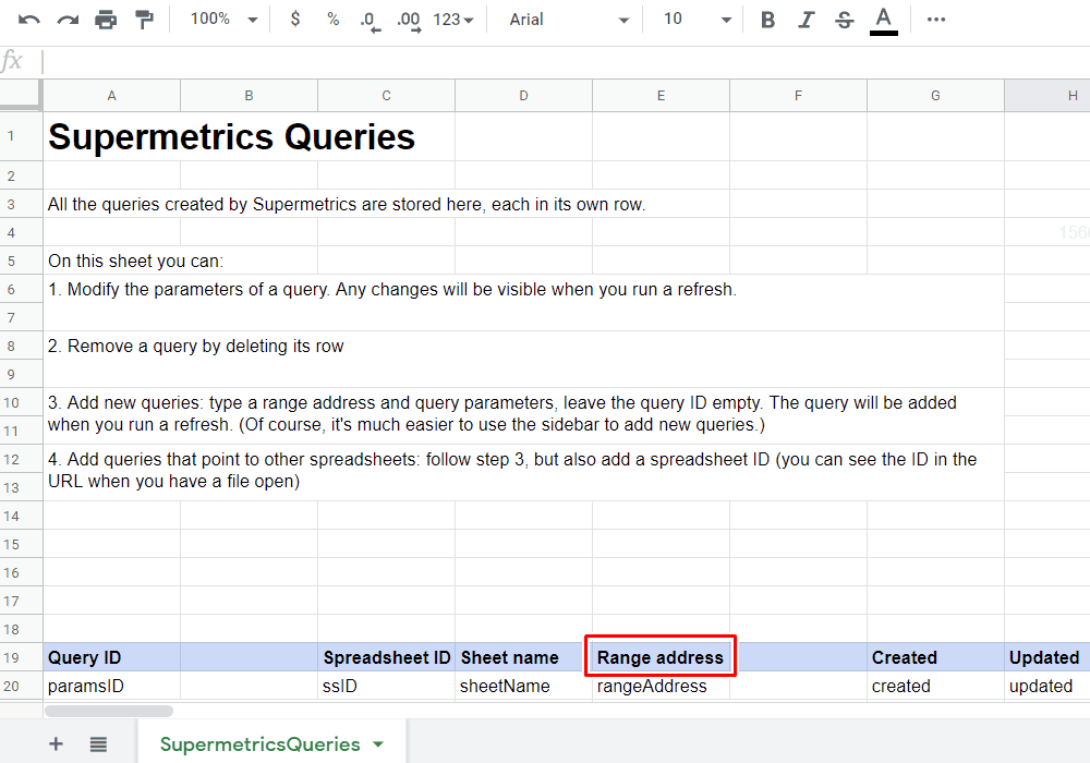 Supermetrics - SupermetricsQueries Sheet Range Address