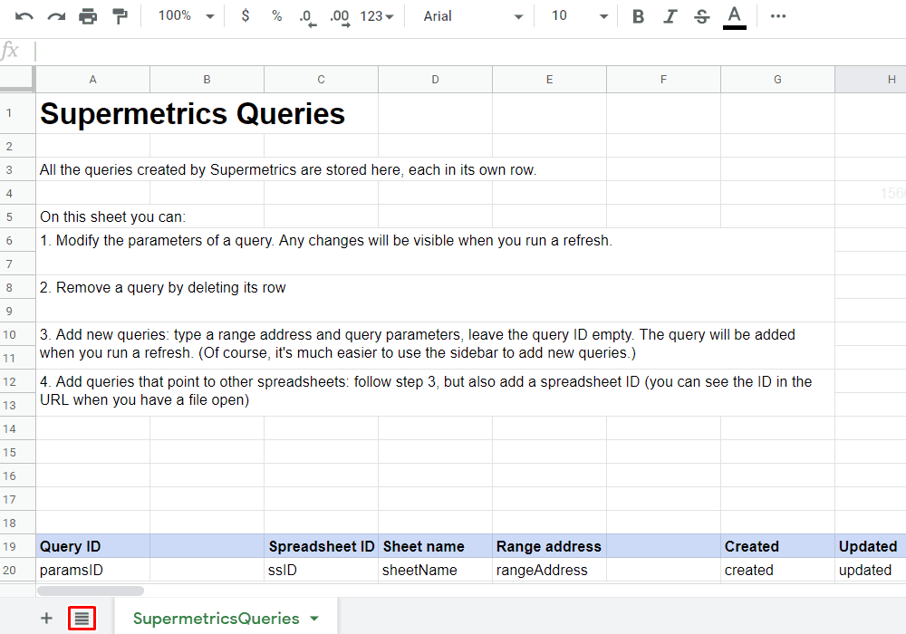 Supermetrics - SupermetricsQueries Sheet
