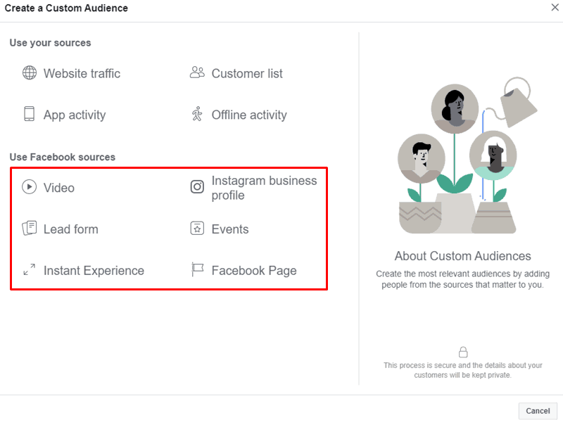 Facebook - Ads Manager - Create Custom Audience Engagement