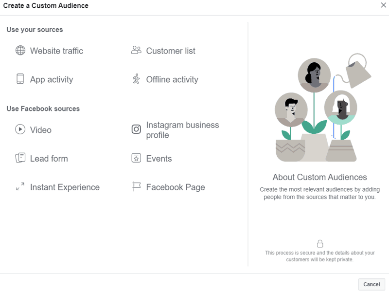 Facebook - Ads Manager - Create Custom Audience