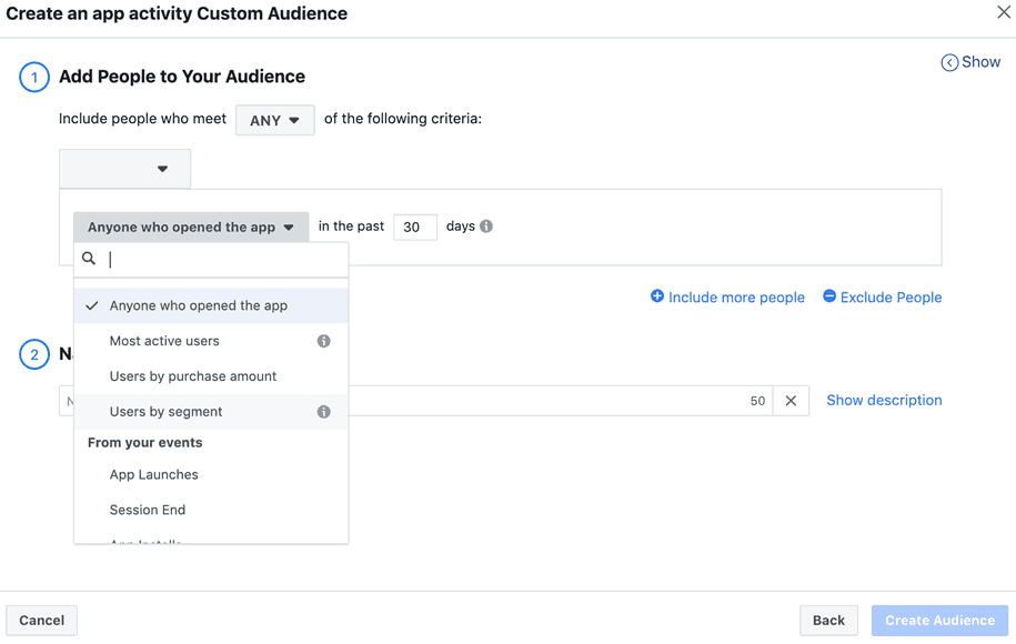 Facebook - Ads Manager - Create Custom Audience App Activity