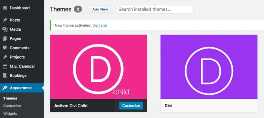 Elegant Themes Divi - Child Theme Activated WordPress