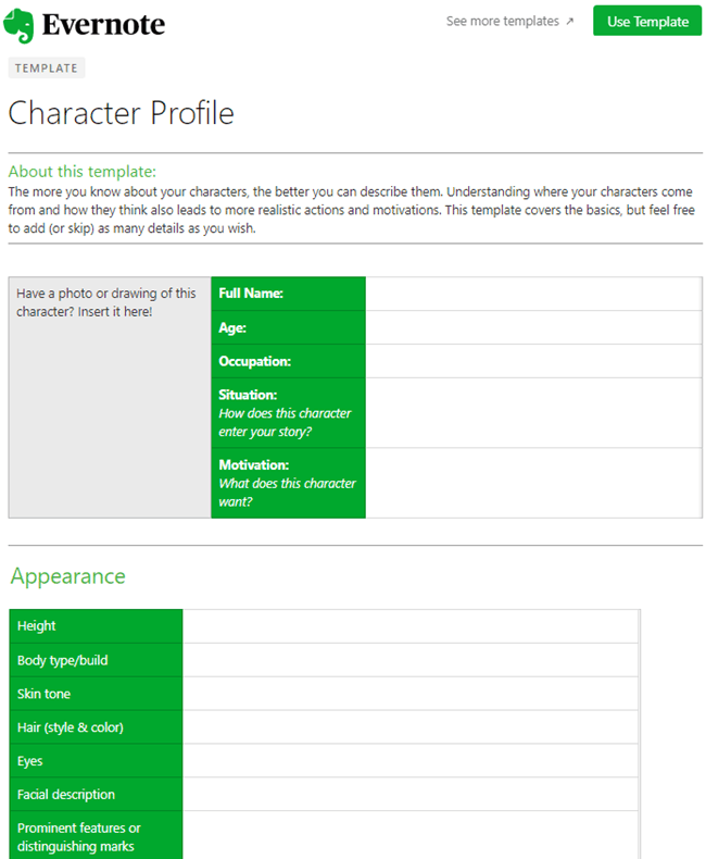 Evernote Template - Creative Writing Character Profile