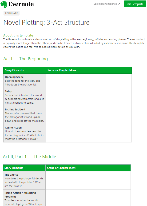 Evernote Template - Creative Writing Novel Plotting 3-Act Structure