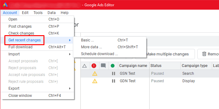 Google Ads Editor - Get Recent Changes
