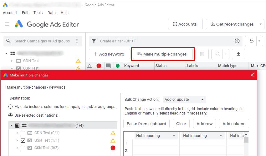 Google Ads Editor - Make Multiple Changes