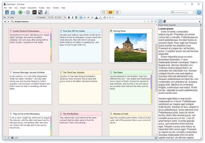 Scrivener - Features Corkboard