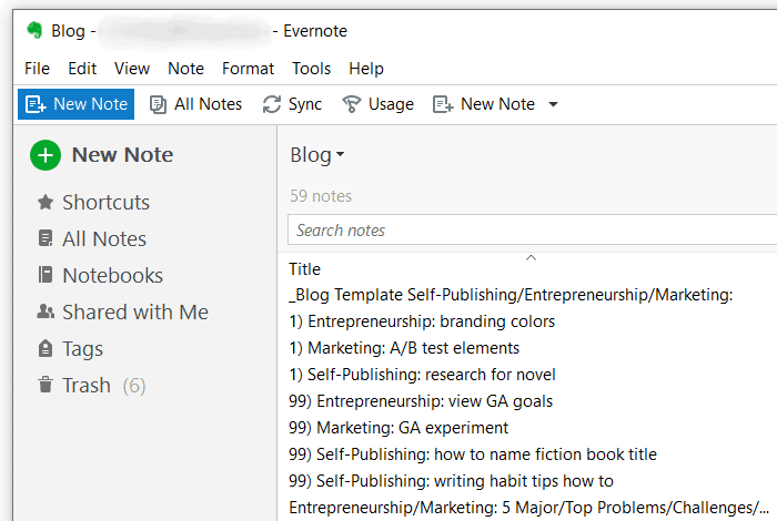Evernote - Blog Ideas Overview
