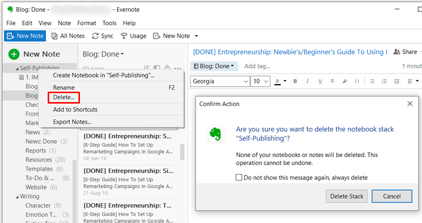 Evernote - Delete Notebook Stack