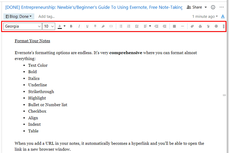 Evernote - Formatting