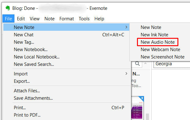 Evernote - New Audio Note