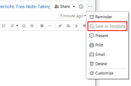 Evernote - Save As Template