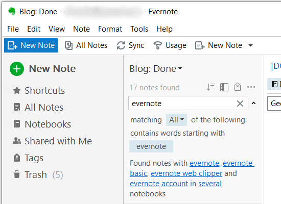 Evernote - Search Notes