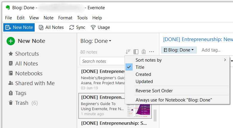 Evernote - Sort Notes