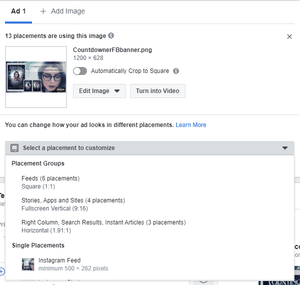 Facebook - Ads Manager - Asset Customization