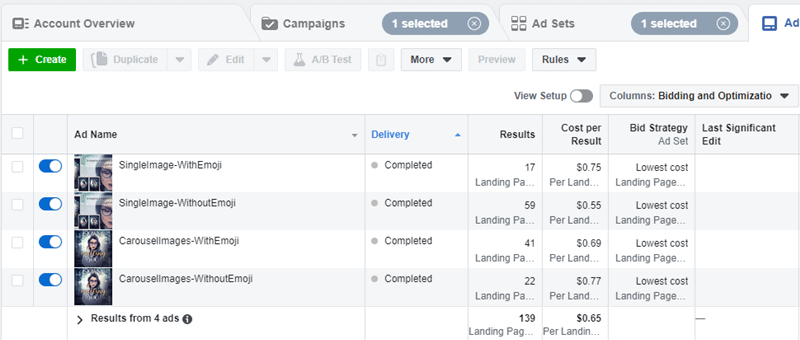 Facebook - Ads Manager - Bidding and Optimization Columns