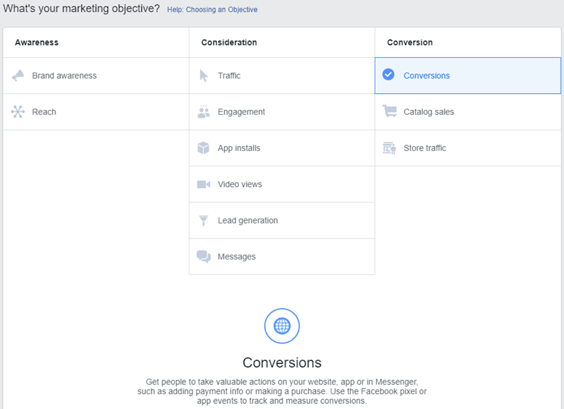 Facebook - Ads Manager - Conversions Objective Campaign