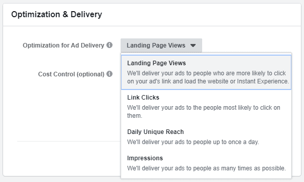 Facebook - Ads Manager - Optimization For Ad Delivery
