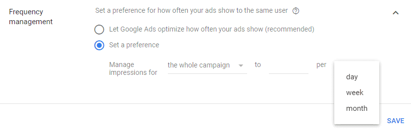 Google AdWords New Interface - Frequency Capping