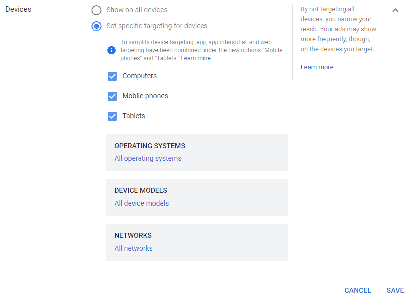 Google AdWords New Interface - Settings Devices