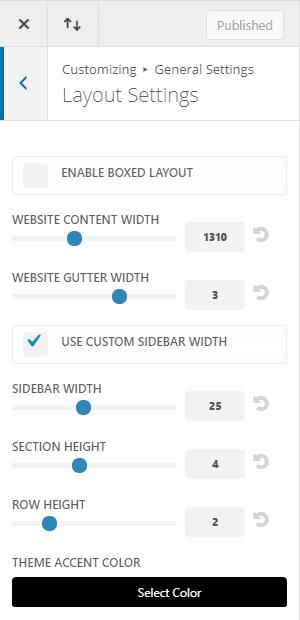 WordPress - Customize Appearance - Layout Settings