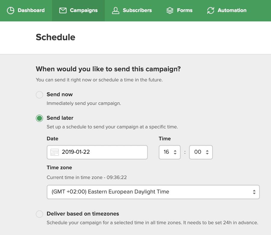 MailerLite - Send Schedule
