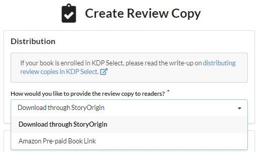 StoryOrigin - Create Review Copy - Distribution