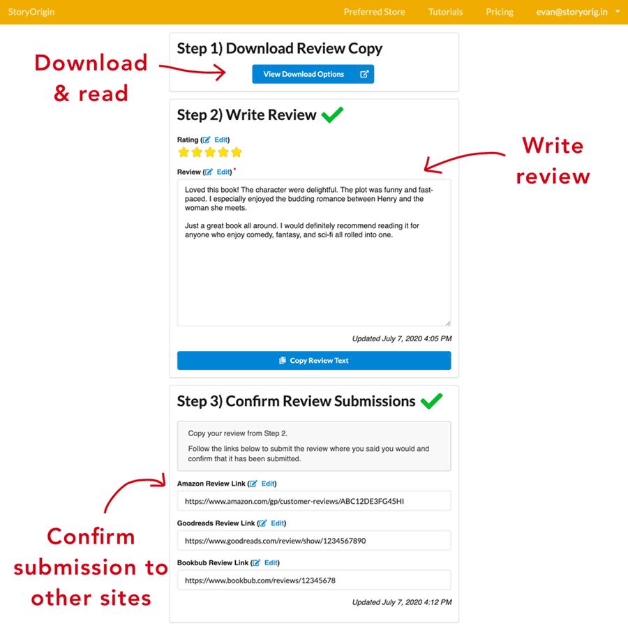StoryOrigin - Review Process Page