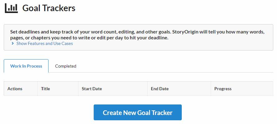 StoryOrigin - Goal Trackers