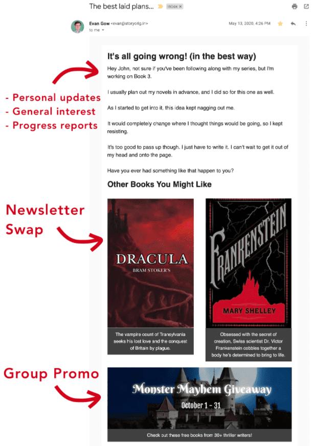 StoryOrigin - Newsletter Swap Group Promo Email Layout